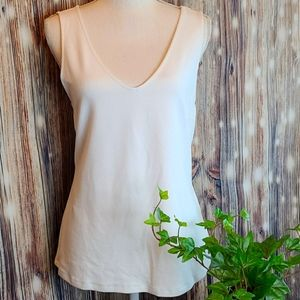 INC INTERNATIONAL CONCEPTS WHITE V NECK TANK TOP